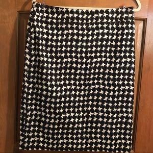 Talbots Pencil Skirt Black White Houndstooth 10